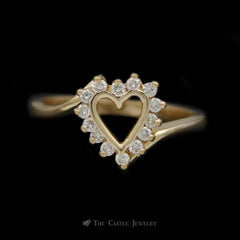 Heart Shaped 1/4cttw Diamond Ring in 14K Yellow Gold