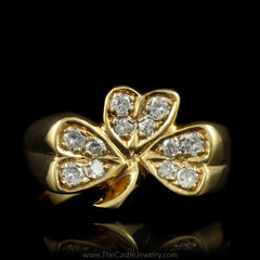 Heavy Unique Clover Ring Accented with Round Diamonds in 14K Yellow Gold - The Castle Jewelry  - 1