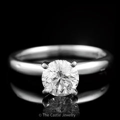"""Leo"" Diamond 1 ct Solitaire Engagement Ring in 14K White Gold 4 Prong Tiffany Mounting - The Castle Jewelry  - 1"