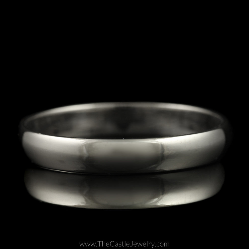Polished Wedding Band 3.5mm Wide Size 10.75 in 14K White Gold - The Castle Jewelry  - 1