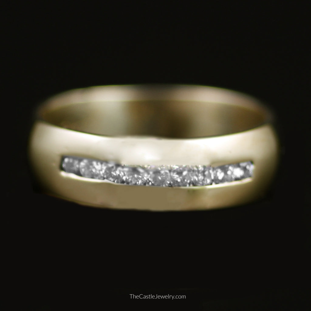 Gent's Channel Set Round Brilliant Cut Diamond Wedding Band in 14K Yellow Gold - The Castle Jewelry  - 1