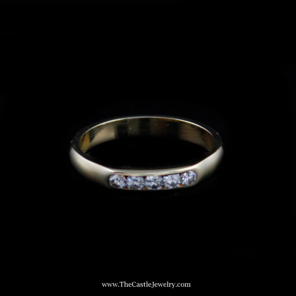Beautiful Channel Set Diamond Wedding Band in 14K Yellow Gold - The Castle Jewelry  - 1