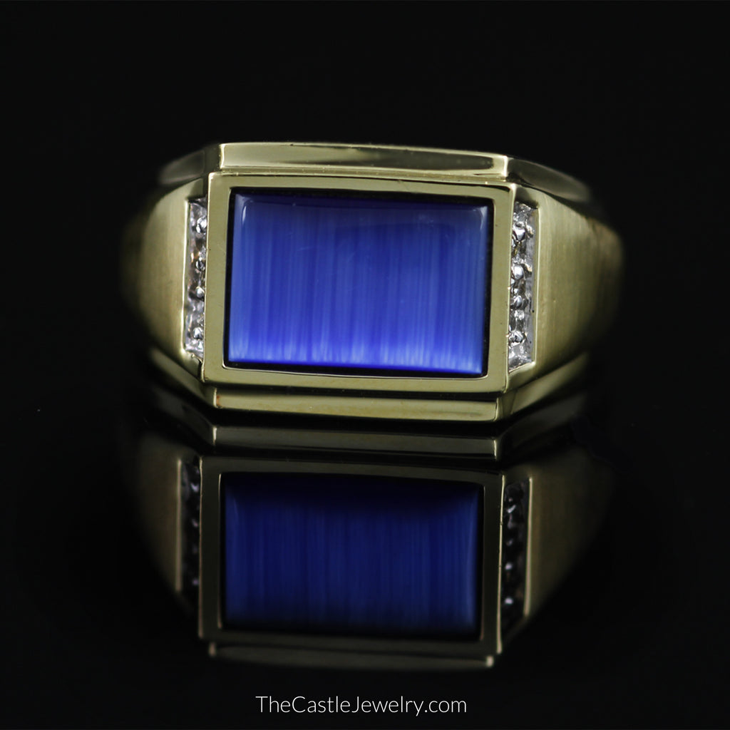 Gent's Rectangular Shaped Blue Stone w/ Diamond Accents in 10K Gold - The Castle Jewelry  - 1