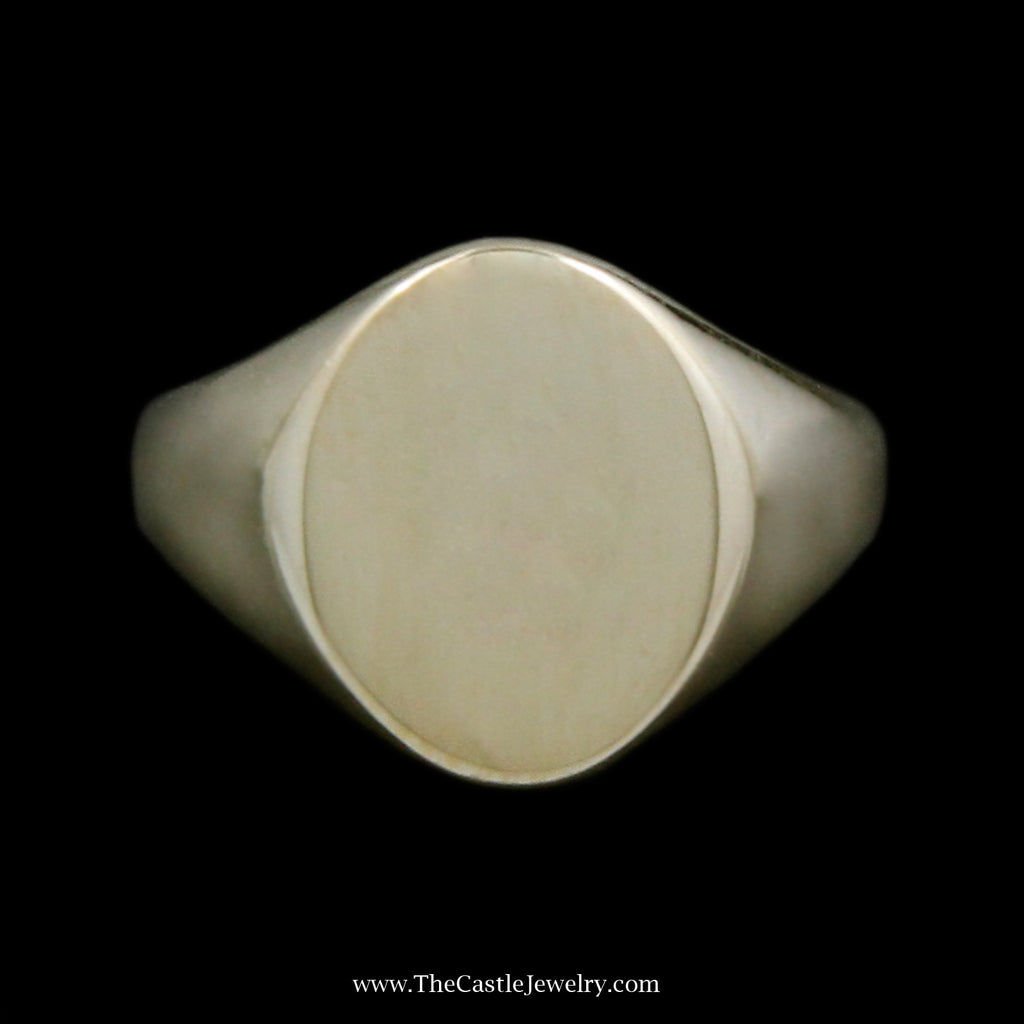 Polished Oval Shaped Signet Ring Crafted in 14k Yellow Gold - The Castle Jewelry  - 1