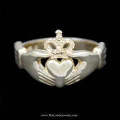 Classic Claddagh Ring Crafted in 14k Yellow Gold - The Castle Jewelry  - 1