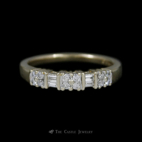 Round and Baguette 1/4cttw Diamond Band in 14K Yellow Gold