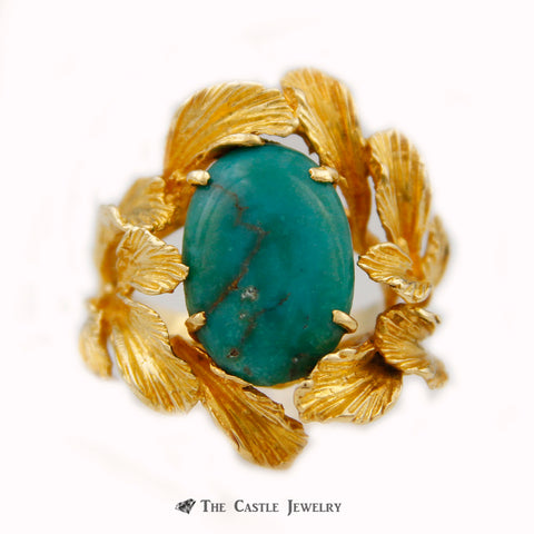 Oval Turquoise Ring w/ Etched Leaf Design Mounting Crafted in 18k Yellow Gold