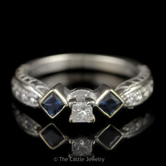 Ornate Diamond and Sapphire Engagement Ring 3 Stone Style Princess Cut Center .50cttw in 18K White Gold - The Castle Jewelry  - 1