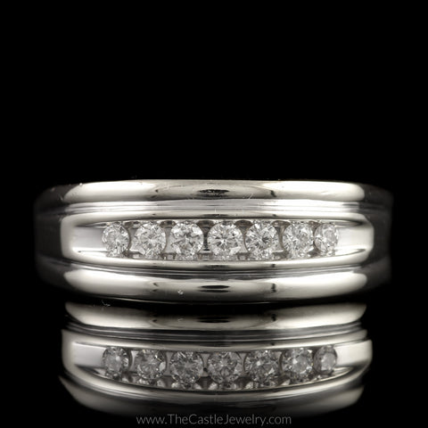 Gent's 7 Round Diamond Band with Grooved Edges in 14K White Gold