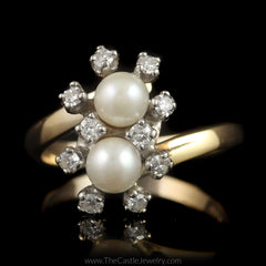 Double Pearl Bypass Ring w/ 1/4cttw Round Diamond Accents in 14K Yellow Gold - The Castle Jewelry  - 1