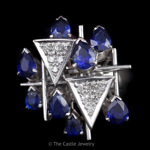 Art Deco Pave Diamond Clusters Accented with Pear Shaped Sapphires 18K White Gold - The Castle Jewelry  - 1