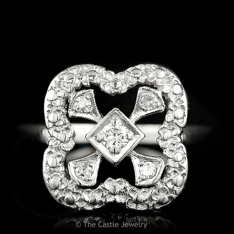 Round Diamond Ring With Square Shaped Open Mounting Crafted in Platinum
