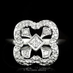 Round Diamond Ring With Square Shaped Open Mounting Crafted in Platinum - The Castle Jewelry  - 1