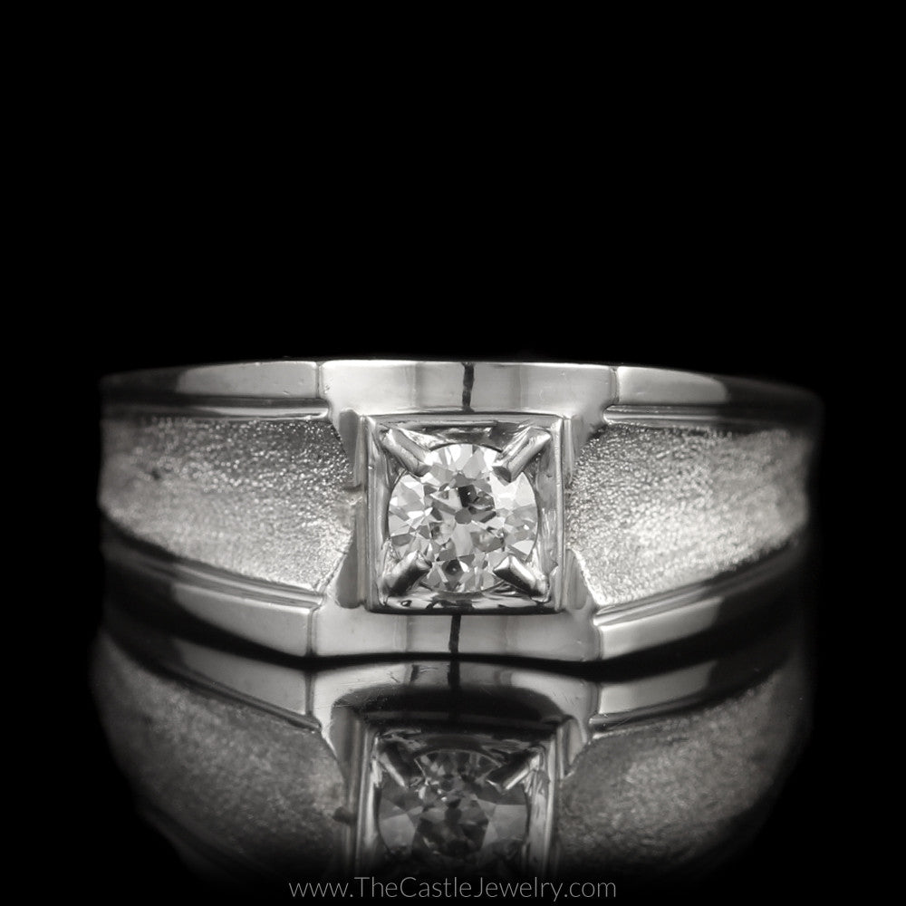 Fantastic Men's Ring Old European Cut Diamond with Laser Cut Concave Sides in 10K White Gold - The Castle Jewelry  - 1