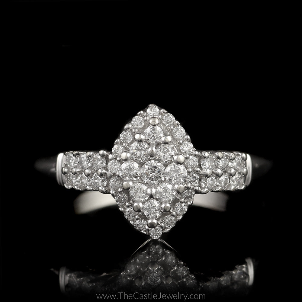 Marquise Shaped Round Diamond Cluster Engagement Ring Halo & Diamond Sides in 14K White Gold - The Castle Jewelry  - 1