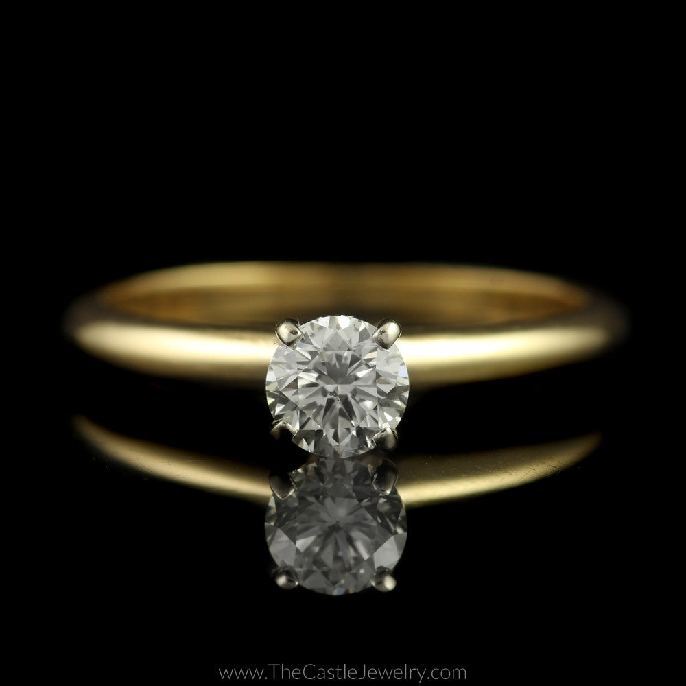 Round Brilliant Cut 1/2ct Diamond Solitaire Engagement Ring in 14K Yellow Gold - The Castle Jewelry  - 1