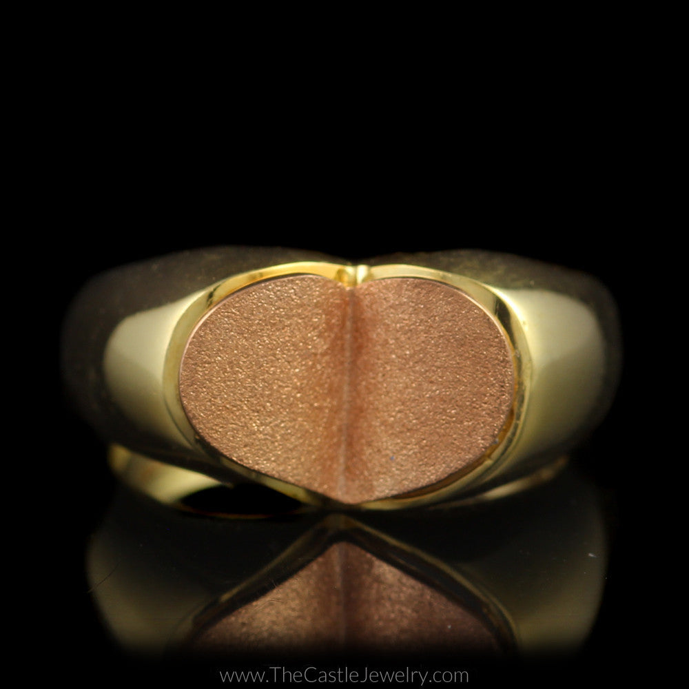 Unique Satin Finish Two Toned Heart Ring in 18K Yellow and Rose Gold - The Castle Jewelry  - 1