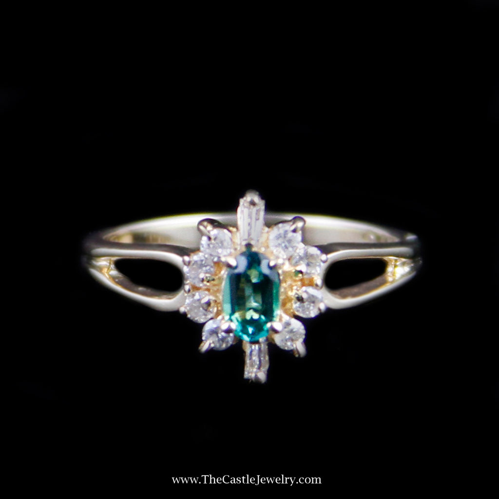 Dainty Oval Emerald Ring w/ Round & Baguette Diamond Halo in Yellow Gold - The Castle Jewelry  - 1