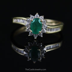Oval Emerald Ring with 1/2cttw Round & Baguette Diamond Accents in 14K Gold - The Castle Jewelry  - 1