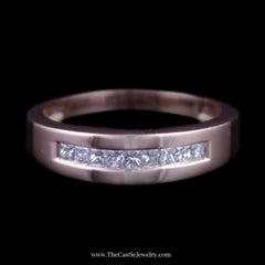 Men's .50cttw Princess Cut Diamond Wedding Band in Rose Gold - The Castle Jewelry  - 1