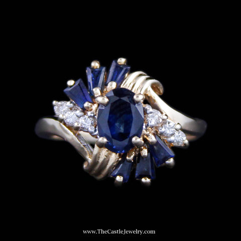 Beautiful Oval Cut Sapphire Ring w/ Baguette Sapphire & Round Diamond Sides in Yellow Gold