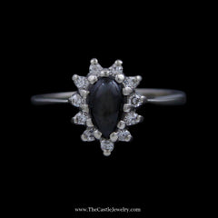 Pear Shaped Lindy Star Ring w/ Round Brilliant Cut Diamond Bezel in 14k White Gold