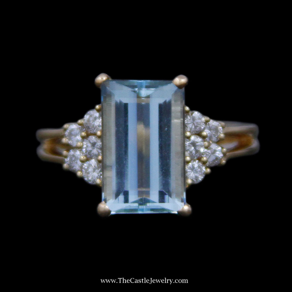 Stunning Emerald Cut Aquamarine Ring w/ Round Diamond Cluster Sides in 18k Yellow Gold - The Castle Jewelry  - 1