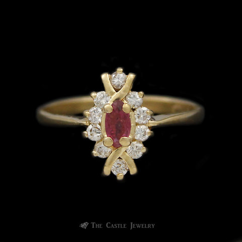 Small Marquise Ruby Ring with Diamond Bezel & Unique Gold Accent in 14K