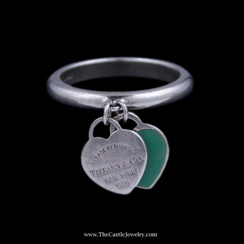 Authentic Tiffany & Co. Band with Stamped Dangle Heart and Dangle Green Enamel Heart in Sterling Silver