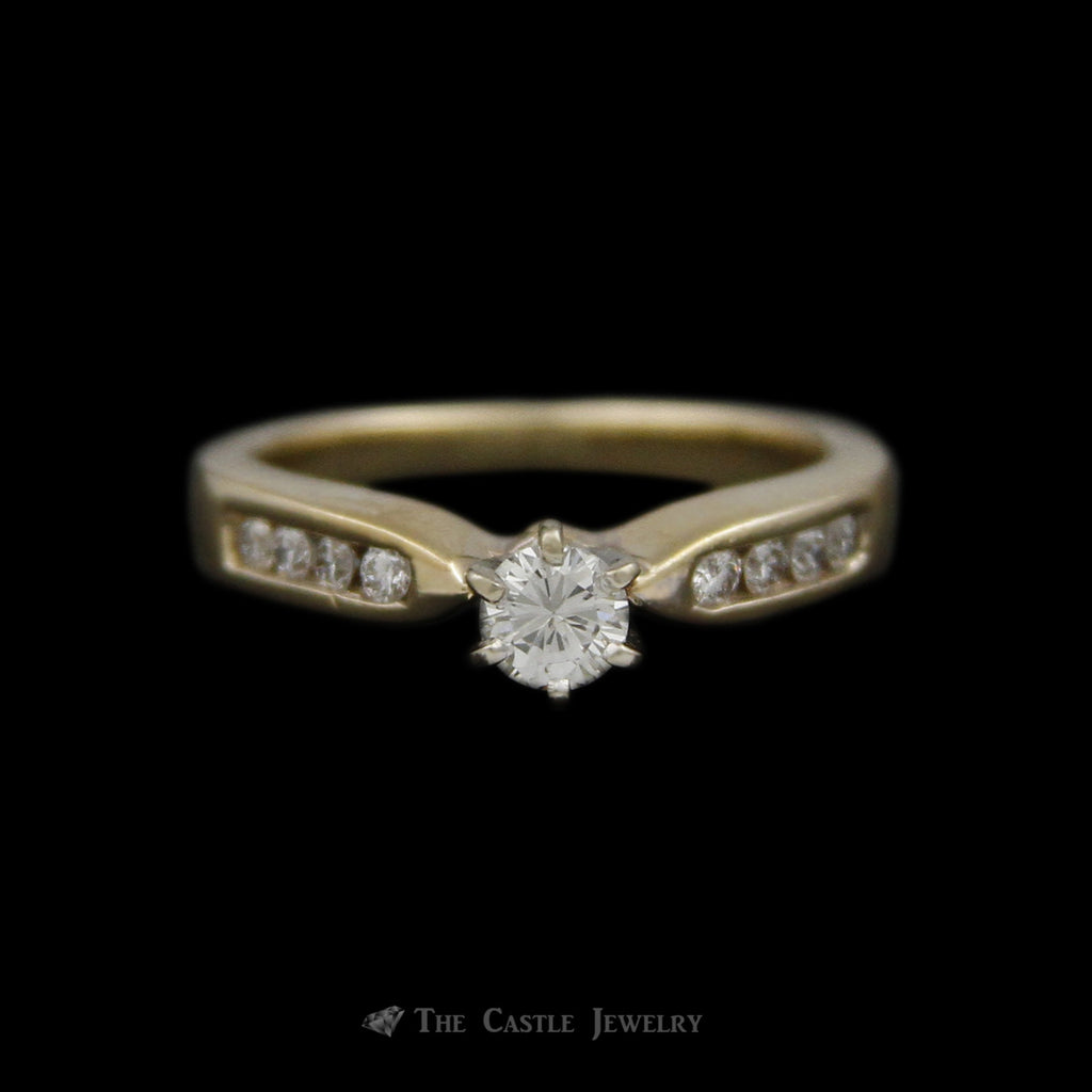 Round Brilliant Cut Diamond Engagement Ring w/ Channel Set Round Diamond Sides in 14k Yellow Gold