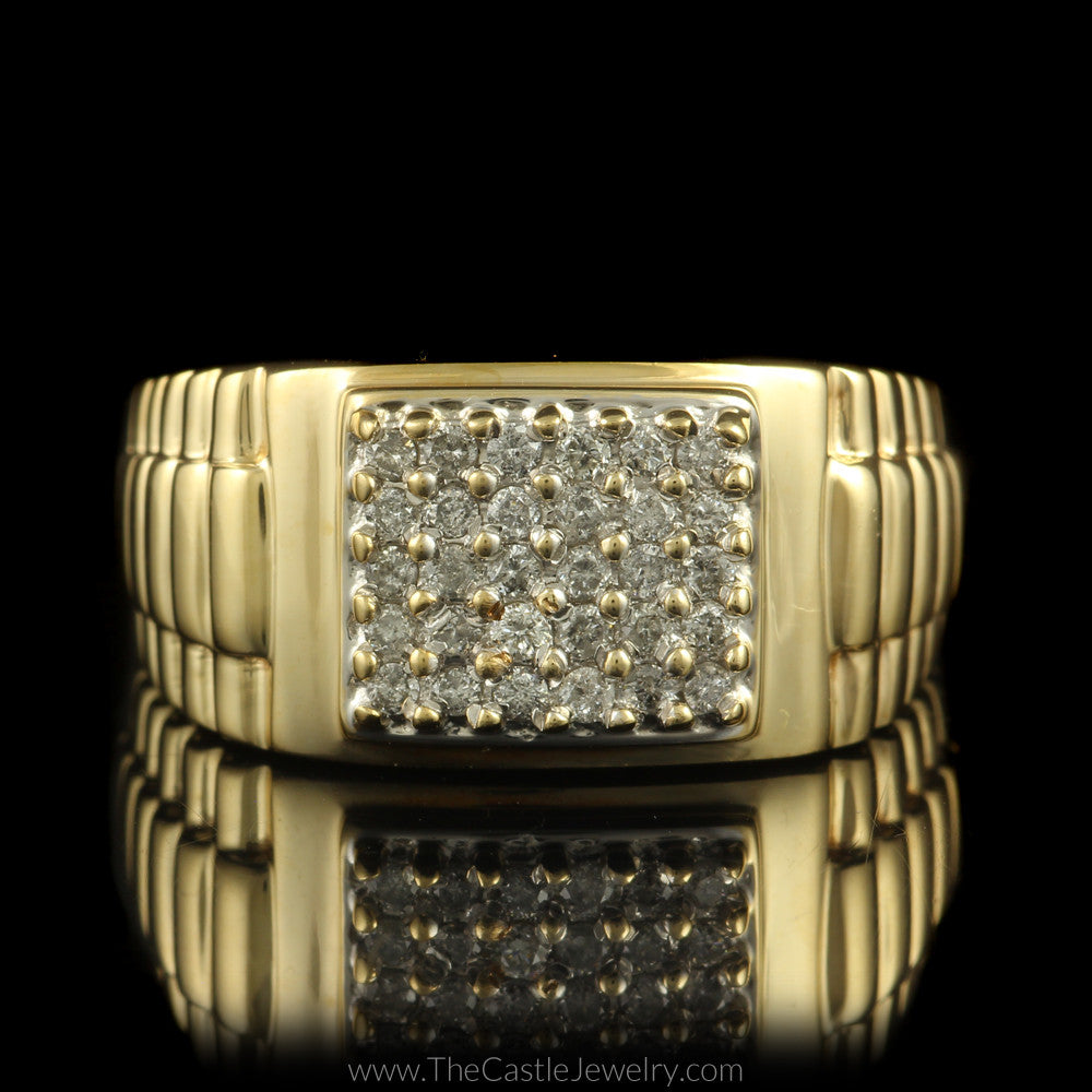 square shaped 1/2cttw diamond cluster ring w/ rolex design sides