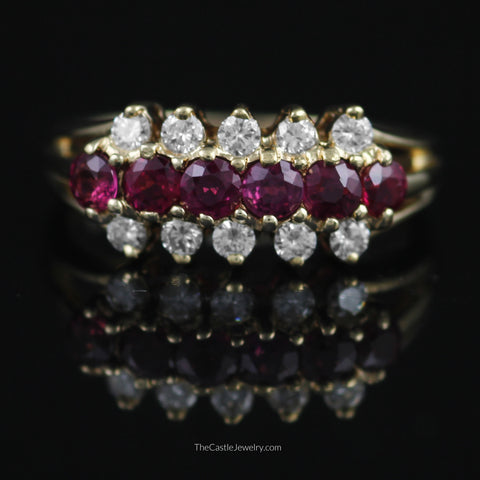 Beautiful 3 Row Ruby and Diamond Band in 14K Yellow Gold