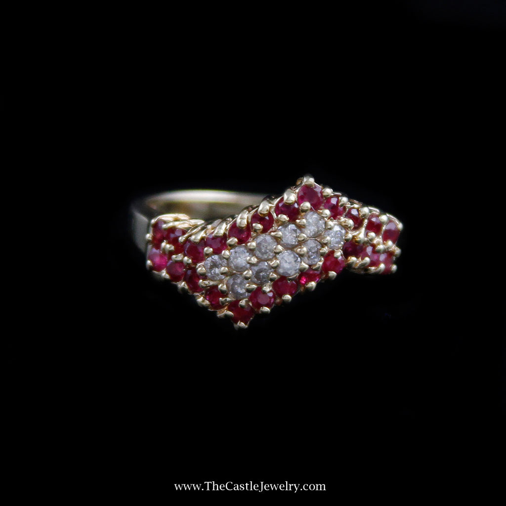 Gorgeous Wave Design Diamond and Ruby Cluster Ring In 10K Yellow Gold - The Castle Jewelry  - 1