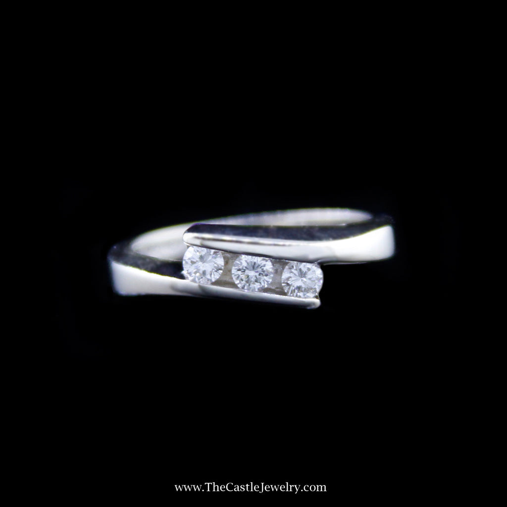 Stunning Triple Diamond Bypass Design Ring in White Gold - The Castle Jewelry  - 1