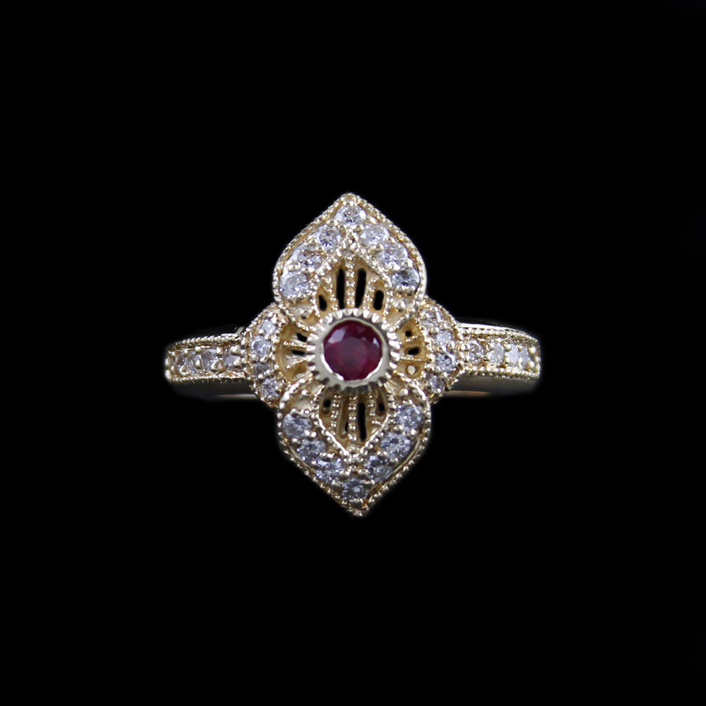 Gorgeous Bezel Set Ruby Ring in Fancy Design Mounting w/ Round Brilliant Cut Diamonds in Yellow Gold - The Castle Jewelry  - 1