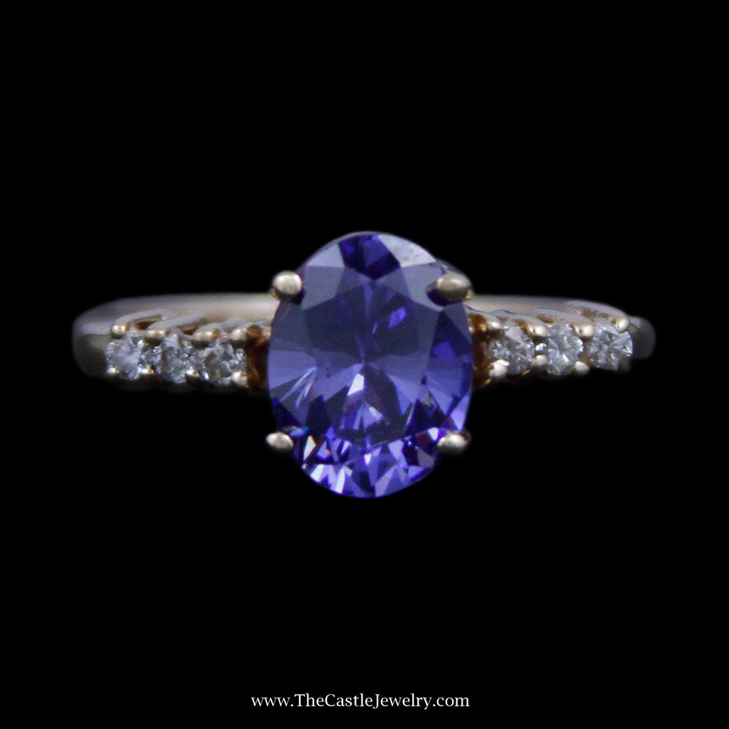 Gorgeous Oval Cut Tanzanite Ring w/ Round Brilliant Cut Diamond Sides in 14k Yellow Gold - The Castle Jewelry  - 1