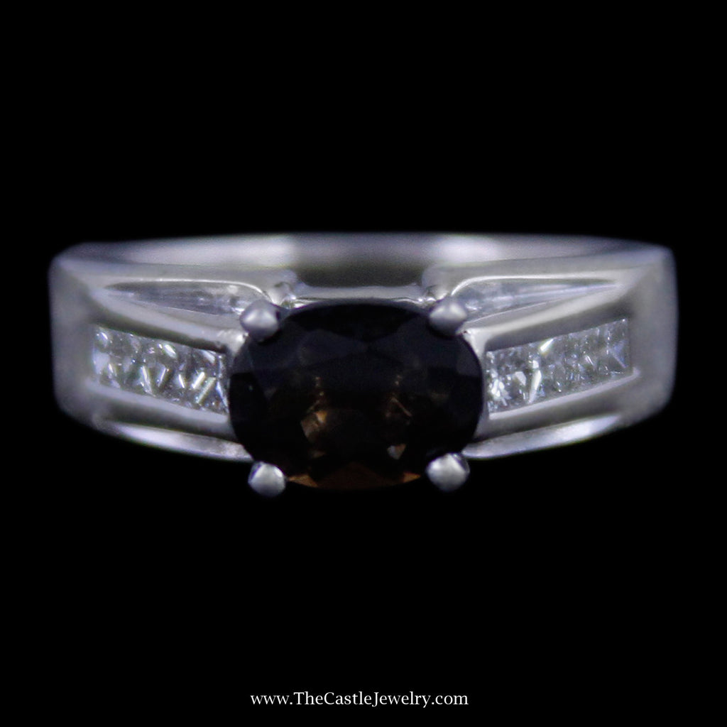 Beautiful Oval Cut Smokey Quartz Ring w/ Channel Set Princess Cut Diamond Mounting in White Gold - The Castle Jewelry  - 1