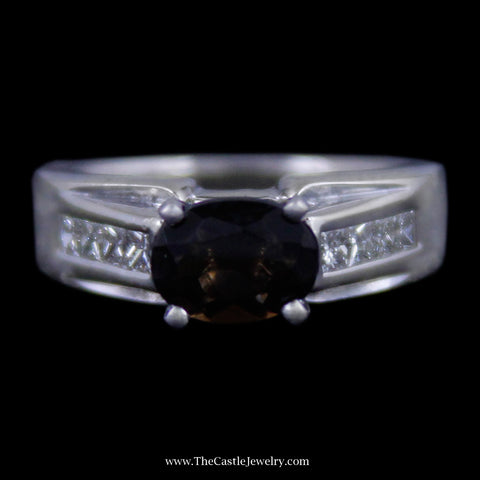 Beautiful Oval Cut Smokey Quartz Ring w/ Channel Set Princess Cut Diamond Mounting in White Gold