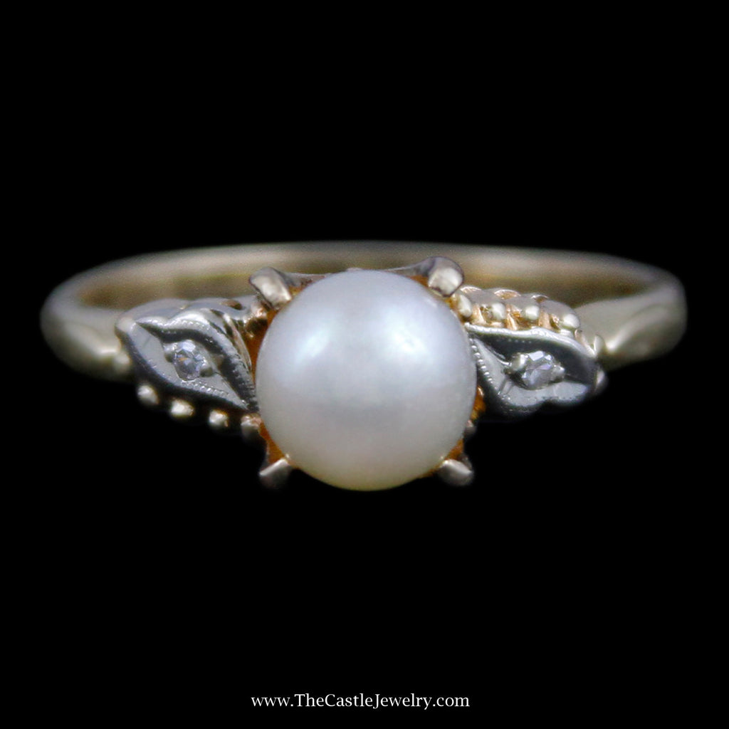Charming Round Pearl Ring w/ 2 Round Brilliant Cut Diamond Accents in Yellow Gold - The Castle Jewelry  - 1