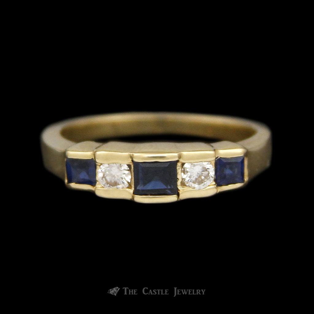 Diamond and Sapphire Step Design Anniversary Wedding Band in 14K Yellow Gold