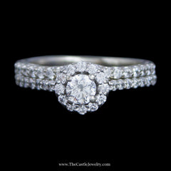 Gorgeous Round Brilliant Cut Diamond Bridal Set w/ Surprise Diamond Mounting in 14k White Gold - The Castle Jewelry  - 1