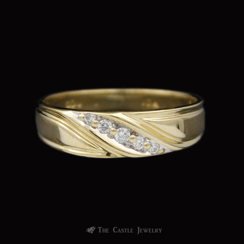 Men's Small Diagonal Ridged Diamond Wedding Band in 10K Yellow Gold