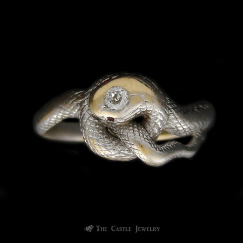Antique Coiled Snake Ring with Ruby Eyes and Diamond Head in 14K White Gold