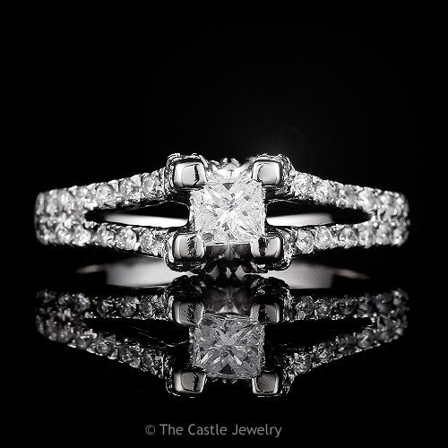 Princess Cut Diamond Solitaire in  Diamond Accented Split Shank .66cttw 14k White Gold - The Castle Jewelry  - 1