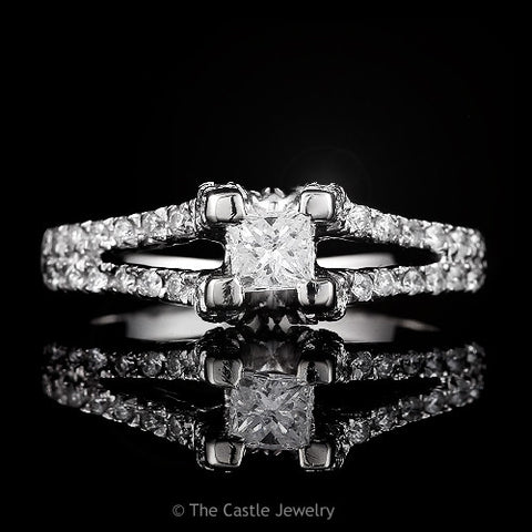 Princess Cut Diamond Solitaire in  Diamond Accented Split Shank .66cttw 14k White Gold