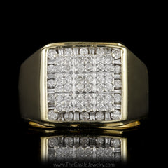 Gent's Square Round & Baguette Diamond Cluster in 10K Yellow Gold - The Castle Jewelry  - 1
