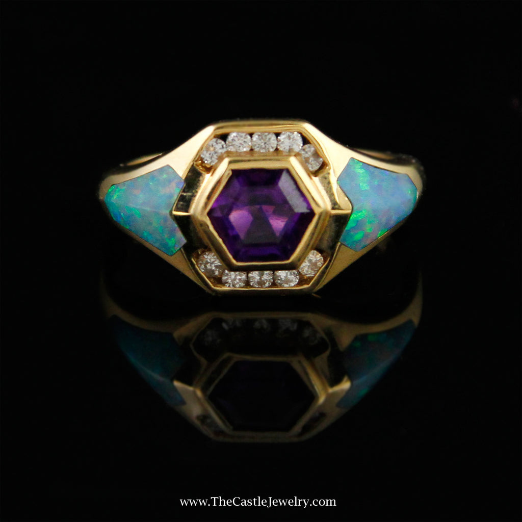 Designer Kabana Ring w/ Fancy Cut Amethyst & Opal Inlay Accents in 14K Gold - The Castle Jewelry  - 1