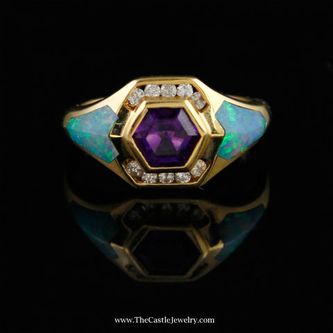 Designer Kabana Ring w/ Fancy Cut Amethyst & Opal Inlay Accents in 14K Gold