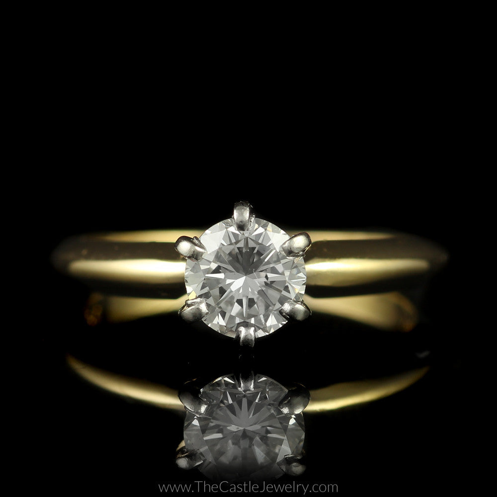 Round Brilliant Cut Diamond Solitaire Engagement Ring in 14K Yellow Gold - The Castle Jewelry  - 1