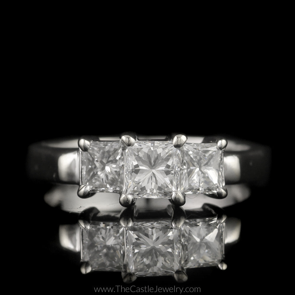 Princess Cut 1cttw Diamond DeBeers Style 3 Stone Ring in 14K White Gold - The Castle Jewelry  - 1